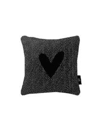 Buitenkussen met zwarte dots en hart - zwart