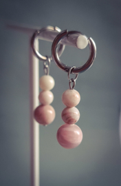 Hoops peach marbles  - zilver