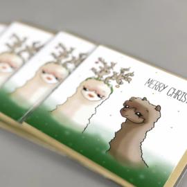 Alpaca kerstkaart - merry christmas!