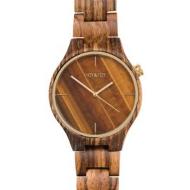 horloge van zebranohout en tijgeroog - Tigano HOT&TOT