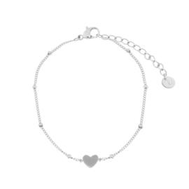 armband gesloten hartje - zilver