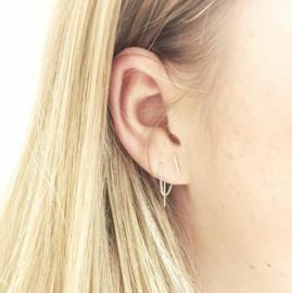 Bar chain earring  - zilver