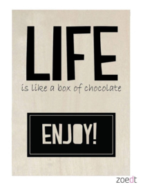 houten kaart - Life is like a box of chocolate, Enjoy!