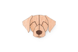 houten broche - blond dog