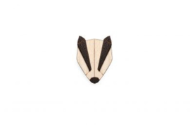 houten broche - Badger