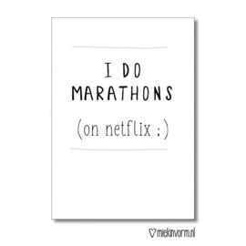 MIEKinvorm kaart A6 - i do marathons (on netflix ;)