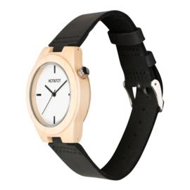 houten horloge met zwart leren band - Amici Nero Hot&Tot