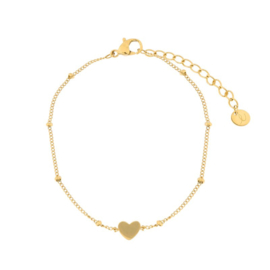 armband gesloten hartje - goud