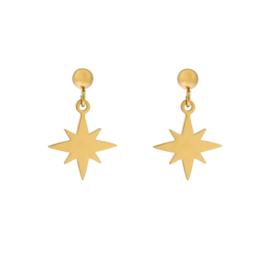 Stud earrings  with charm - NORTHSTAR - goud