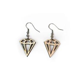 Hangende houten oorbellen - diamant klein