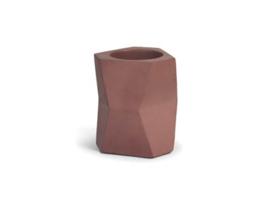 Facet flowerpot - beton marsala