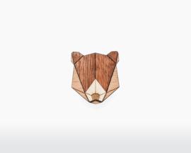 houten broche - Bear