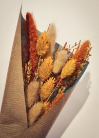 bosje droogbloemen -  oranje/geel