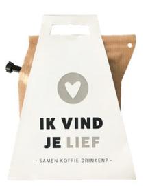 Koffie in cadeauverpakking - ik vind je lief