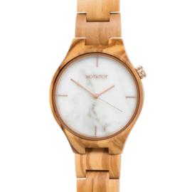 horloge van olijfhout en wit marmer - Tayga HOT&TOT