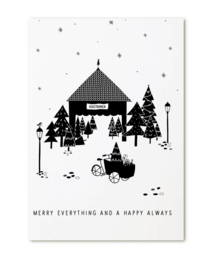 kerstkaart - 'merry everything and a happy always' bakfiets