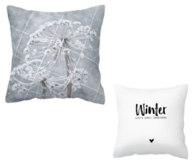 kussen met tekst en zwart/wit foto - 'Winter {let's chill together}'