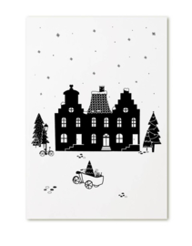 Poster A4 - kerst huisjes