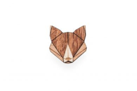 houten broche - Fox