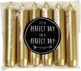 set van 6 kleine dinerkaarsen goud - perfect day