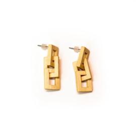 Hangende houten oorbellen - ruitjes schakel esdoorn