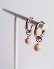 Hoops peach dot - zilver