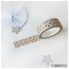 Masking tape - beige met zwarte hartjes