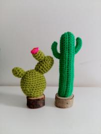 Gehaakte cactusjes in houten potje - set van 2