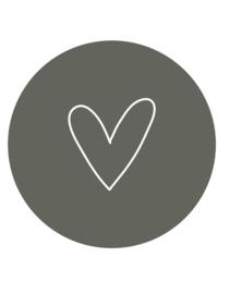 muurcirkel hart - olijf - 30 cm