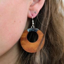 Hangende houten oorbellen - teak en metaal rond