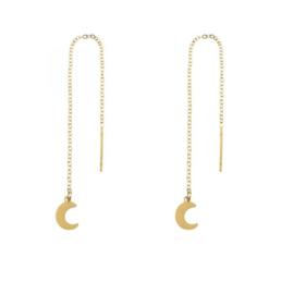 Long chain earrings MOON - goud