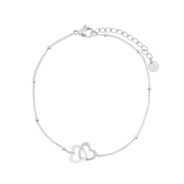 armband dubbel hartje - zilver