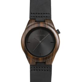 houten horloge met zwart leren band - Pantera Nero Hot&Tot