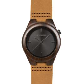 houten horloge met bruin leren band - Pantera Castana Hot&Tot