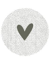 tuincirkel wit met dots en hart - olijfgroen