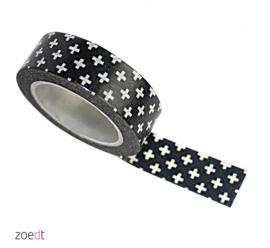 Zoedt masking tape / washi tape zwart met witte plusjes