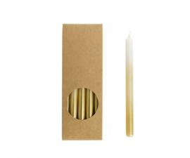 dunne potloodkaars wit met goud - kort of lang