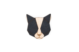 houten broche - black cat