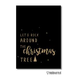 A4 kerstposter - 'let's rock around the christmas tree' zwart-goud