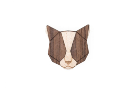houten broche - grey cat