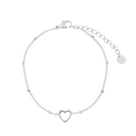 armband open hartje - zilver