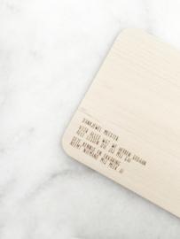 Houten ontbijtplankje met tekst –dankjewel meester
