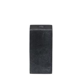 stenen kandelaar voor diner- én potloodkaarsjes - zwart