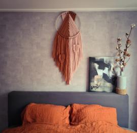 Lontwol duo dromenvanger - roze en koper
