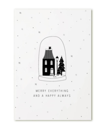 kerstkaart - 'merry everything and a happy always' stolp
