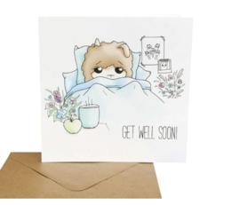 Alpaca wenskaart - get well soon!