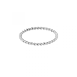 Ring basic twisted - zilver