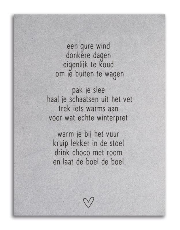 Kaart A6 Grijsboard Met Winter Gedicht Een Gure Wind