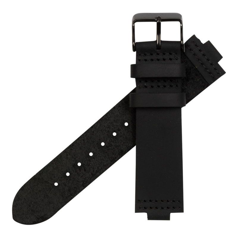 horlogeband zwart leer