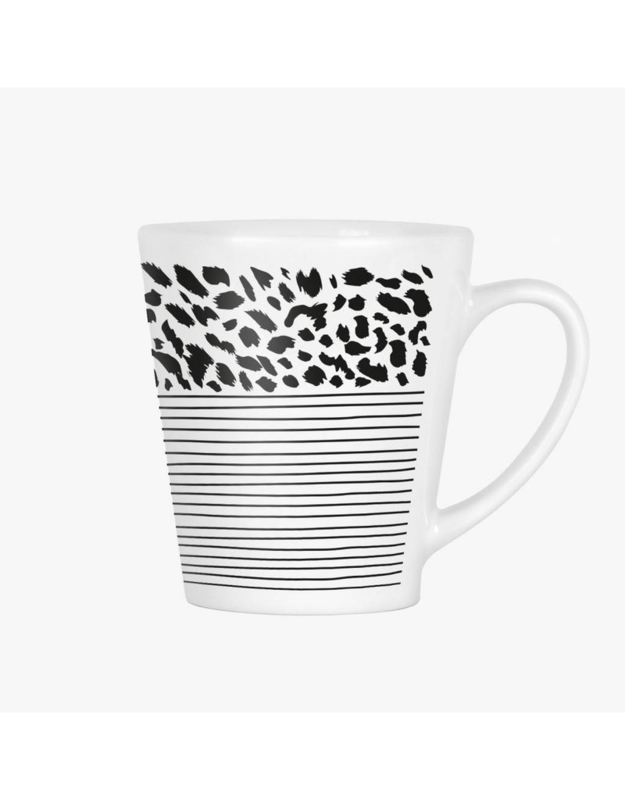 Latte mok met strepen en panterprint
